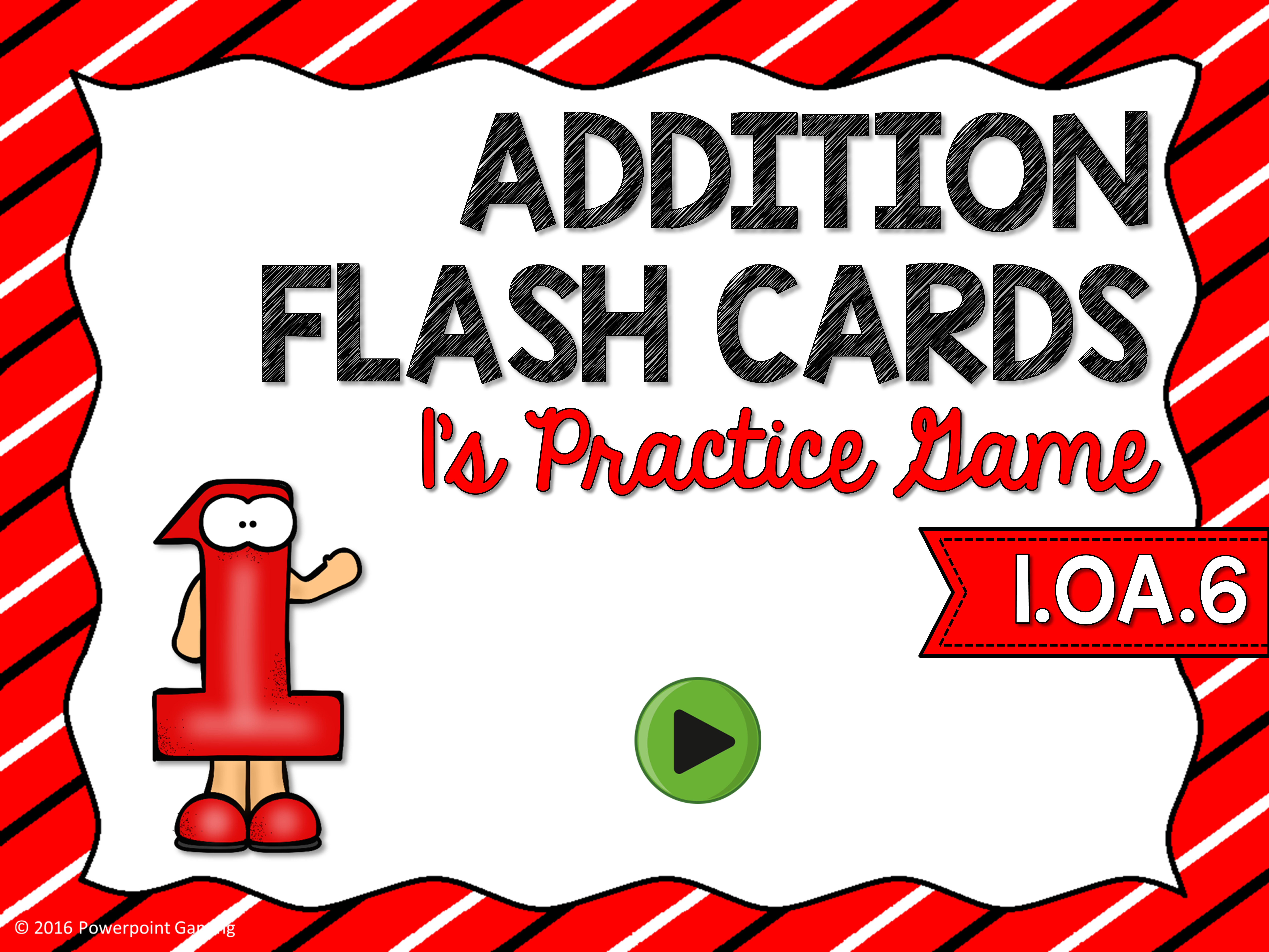 1's Addition Flash Cards